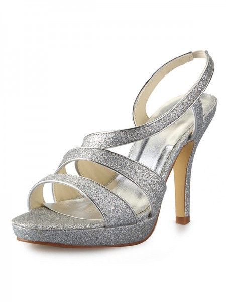 SheenOut Cone Heel Platform Satin Peep Toe With Sparkling Glitter Sandals Shoes SW0370811I