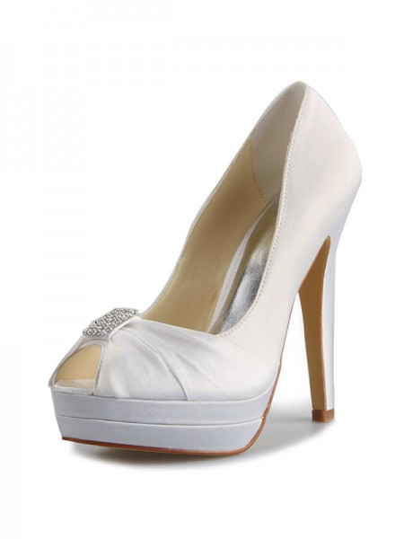 SheenOut Satin Stiletto Heel Platform Peep Toe With Rhinestone White Wedding Shoes SW0409171I