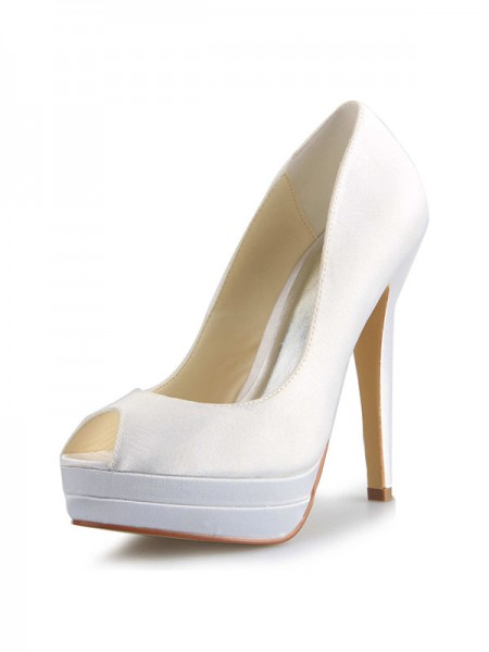 SheenOut Satin Stiletto Heel Peep Toe Platform White Wedding Shoes SW0409181I