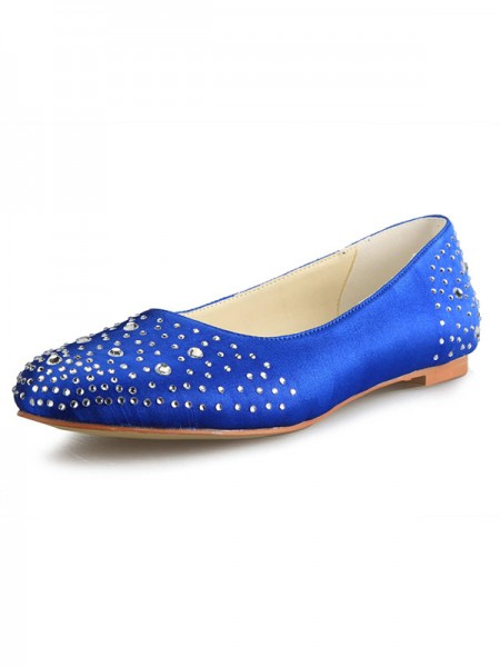 SheenOut Flat Heel Satin Closed Toe With Rhinestone Flat Shoes SW053721I