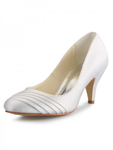 SheenOut Cone Heel Satin Closed Toe White Wedding Shoes SW059494151I