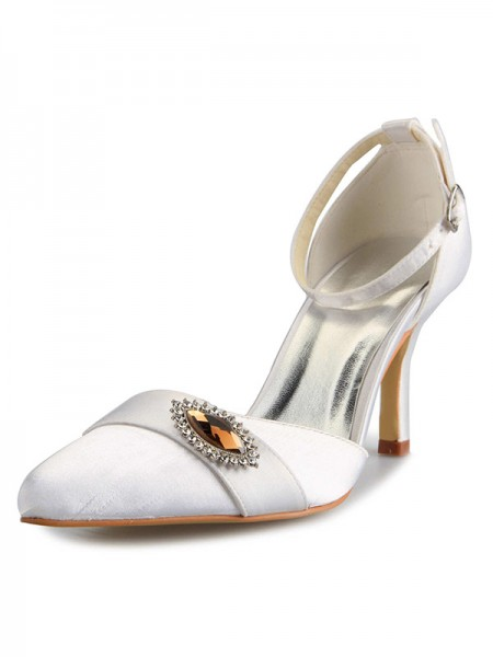 SheenOut Mary Jane Satin Stiletto Heel Closed Toe With Rhinestone White Wedding Shoes SW0A3122A1I