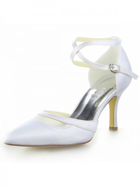 SheenOut White Satin Closed Toe Spool Heel With Buckle White Wedding Shoes SW0A31381I