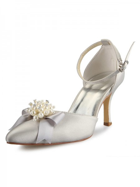 SheenOut Spool Heel Satin Closed Toe With Pearl Bowknot White Wedding Shoes SW0A313AA1I