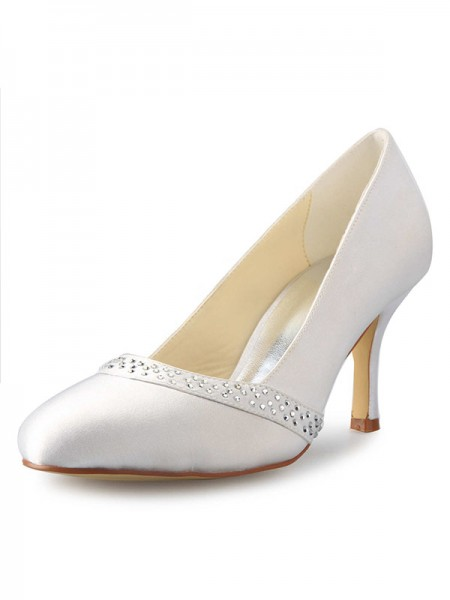SheenOut Stiletto Heel Closed Toe Satin With Rhinestone White Wedding Shoes SW0A31B431I