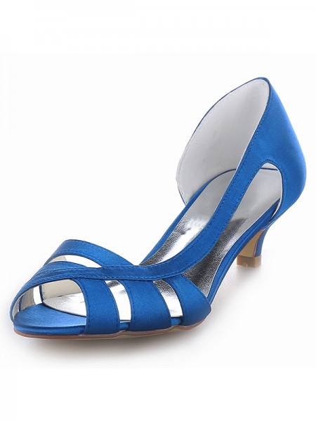 SheenOut Satin Peep Toe Kitten Heel Sandals Shoes SW1011151I