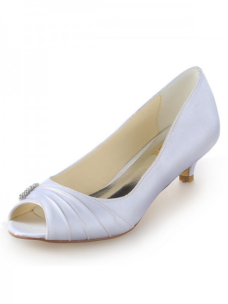 SheenOut Satin Peep Toe Kitten Heel With Rhinestone White Wedding Shoes SW1011161I
