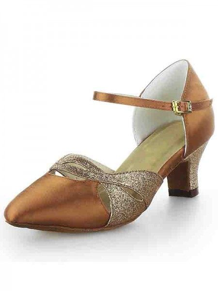 SheenOut Satin Closed Toe Chunky Heel Buckle Sparkling Glitter Dance Shoes SW115009631I
