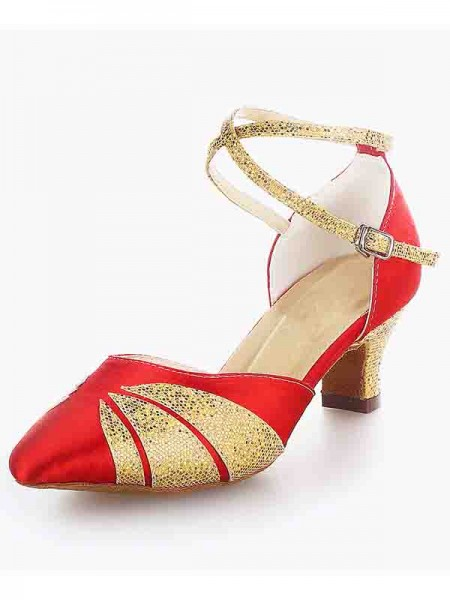 SheenOut Satin Closed Toe Chunky Heel Buckle Sparkling Glitter Dance Shoes SW115009651I