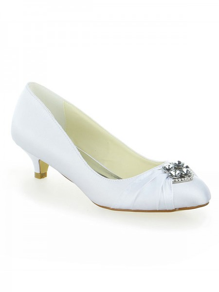 SheenOut Satin Lace Platform Closed Toe With Bowknot Kitten Heel White Wedding Shoes SW115011131I