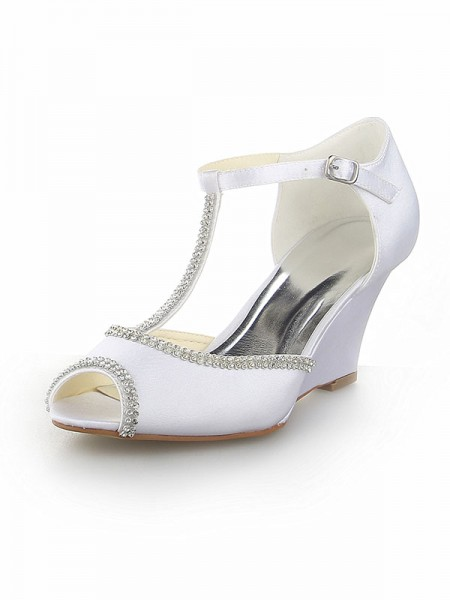 SheenOut Peep Toe T-Strap With Rhinestone Satin Wedge Heel White Wedding Shoes SW115121751I