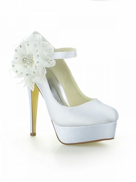 SheenOut Satin Platform Closed Toe With Flower Stiletto Heel White Wedding Shoes SW115201221I