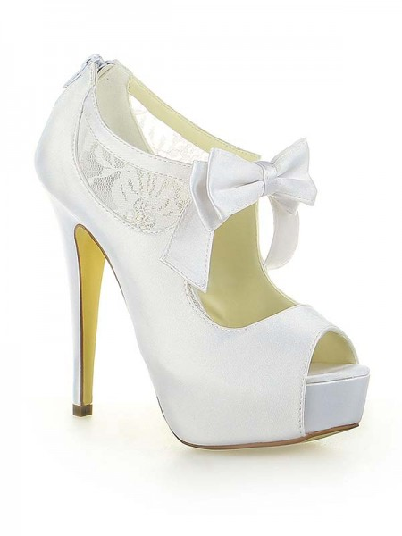 SheenOut Satin Lace Platform Peep Toe With Bowknot Stiletto Heel White Wedding Shoes SW115201251I