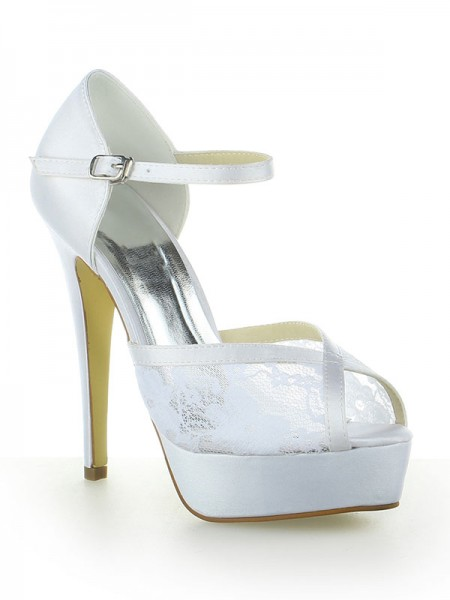 SheenOut Satin Lace Platform Peep Toe With Buckle Stiletto Heel White Wedding Shoes SW115201261I