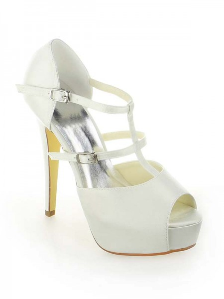 SheenOut Satin Platform Peep Toe Stiletto Heel With Buckle White Wedding Shoes SW115201301I
