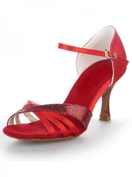 SheenOut Stiletto Heel Satin Peep Toe Buckle Dance Shoes SW115205211I