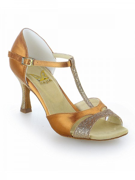 SheenOut Satin Peep Toe Buckle Stiletto Heel Dance Shoes SW11520541I