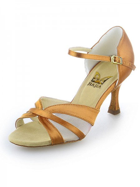 SheenOut Satin Peep Toe Buckle Stiletto Heel Dance Shoes SW11520561I