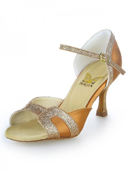 SheenOut Stiletto Heel Satin Peep Toe Sparkling Glitter Dance Shoes SW11520571I