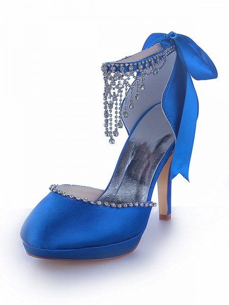 SheenOut Mary Jane Satin Platform Closed Toe Cone Heel With Rhinestone Platforms Shoes SW11537031I