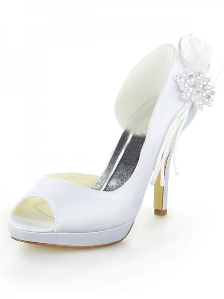 SheenOut Satin Platform Peep Toe Stiletto Heel With Pearl White Wedding Shoes SW11537041I