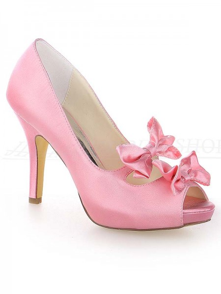 SheenOut Satin Peep Toe Stiletto Heel Platform With Bowknot Watermelon Wedding Shoes SW115370831I