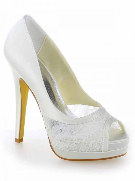 SheenOut Satin Lace Peep Toe Stiletto Heel Platform White Wedding Shoes SW115409191I