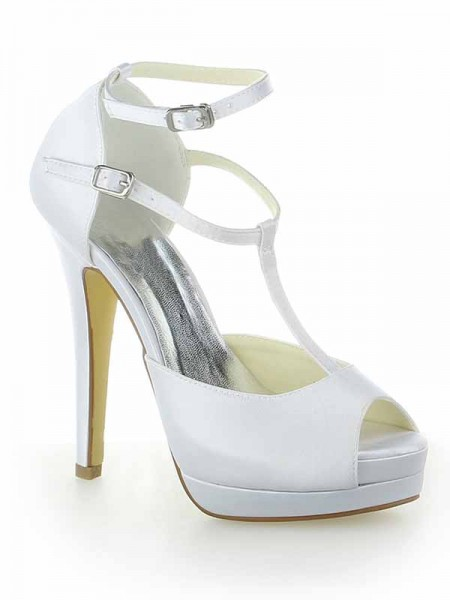 SheenOut Satin Mary Jane Peep Toe Stiletto Heel Platform With Buckle White Wedding Shoes SW115409201I