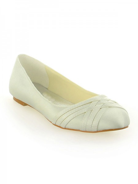 SheenOut Satin Closed Toe Flat Heel Ivory Wedding Shoes SW11553741I