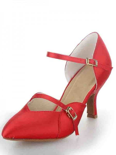 SheenOut Stiletto Heel Satin Closed Toe Buckle Dance Shoes SW11562421I