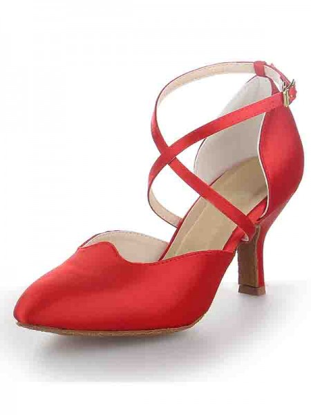 SheenOut Satin Stiletto Heel Close Toe Buckle Dance Shoes SW11562431I