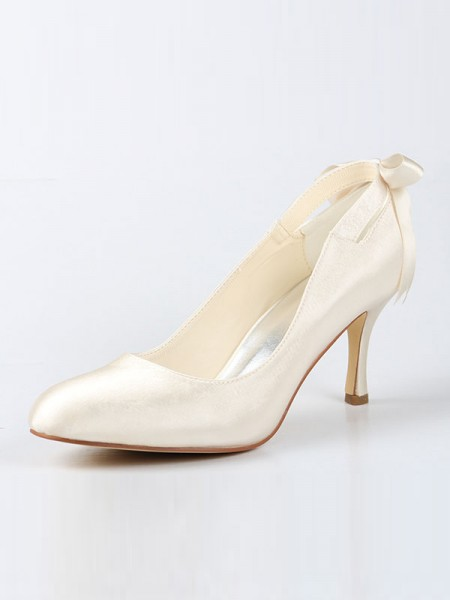SheenOut Satin Closed Toe Spool Heel With Bowknot Ivory Wedding Shoes SW115A31B451I
