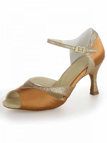 SheenOut Satin Peep Toe Stiletto Heel Sparkling Glitter Dance Shoes SW115Y205161I