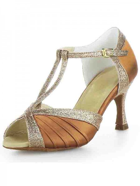 SheenOut Stiletto Heel Satin Peep Toe Buckle Sparkling Glitter Dance Shoes SW115Y205191I