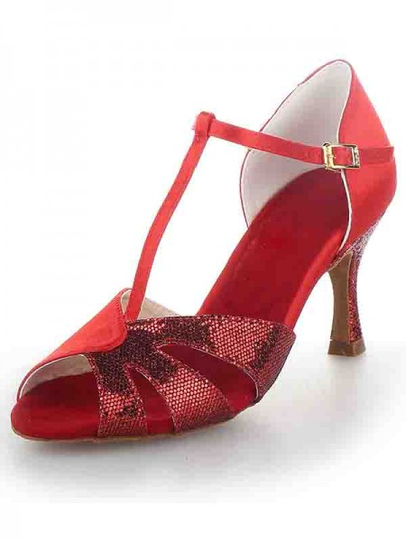 SheenOut T-Strap Peep Toe Stiletto Heel Satin Sparkling Glitter Dance Shoes SW115Y205201I