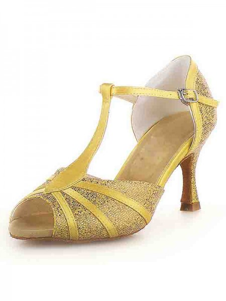 SheenOut Peep Toe Stiletto Heel Satin Buckle Sparkling Glitter Dance Shoes SW115Y205241I
