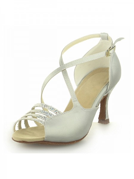 SheenOut Peep Toe Satin Spool Heel With Buckle Ivory Wedding Shoes SW116Y205101I