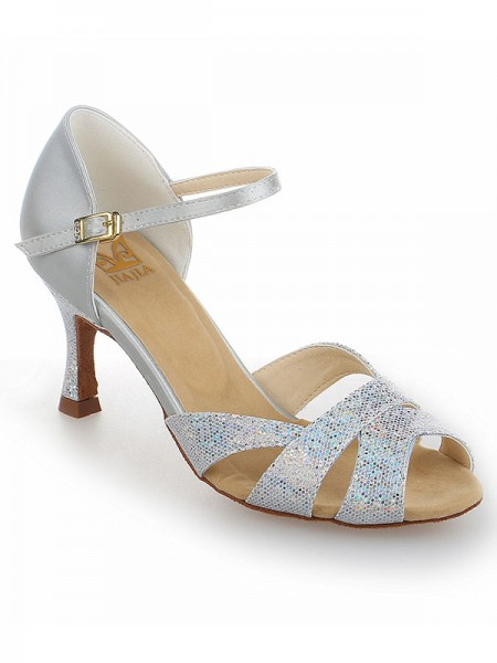 SheenOut Satin Stiletto Heel Peep Toe With Sparkling Glitter Dance Shoes SW116Y20541I