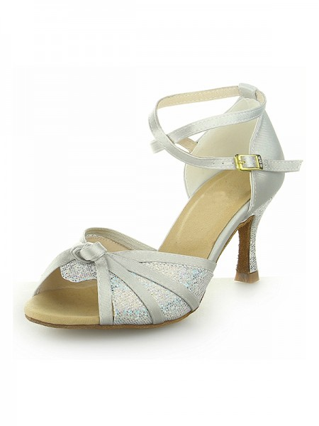 SheenOut Peep Toe With Sparkling Glitter Satin Stiletto Heel Dance Shoes SW116Y20591I