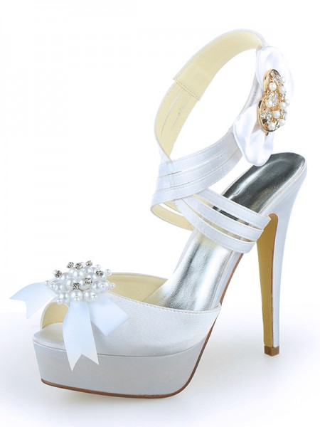 SheenOut Satin Peep Toe Platform Stiletto Heel With Pearl White Wedding Shoes SW120121A1I