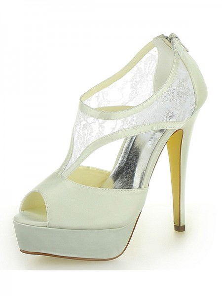 SheenOut Stiletto Heel Satin Platform Peep Toe With Zipper Ivory Wedding Shoes SW1201311I