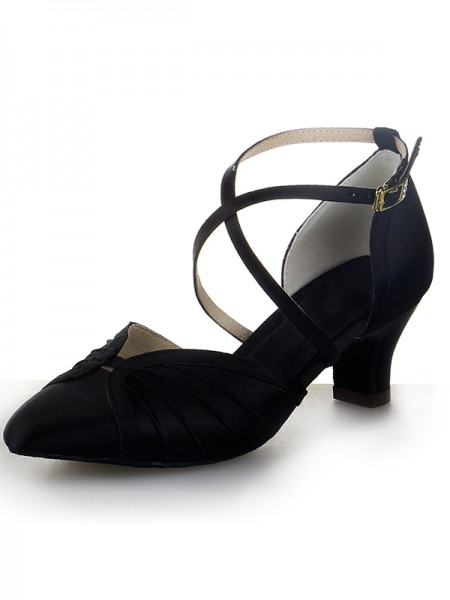 SheenOut Closed Toe Satin Chunky Heel Buckle Dance Shoes SW19661I