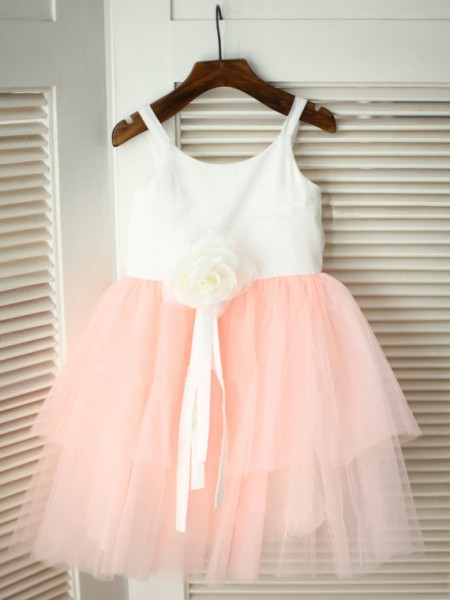 A-Line/Princess Pink Tulle Floor-Length Flower Girl Dresses with Hand-Made Flower