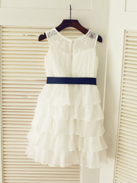 A-Line/Princess White Chiffon Floor-Length Flower Girl Dresses with Ruched