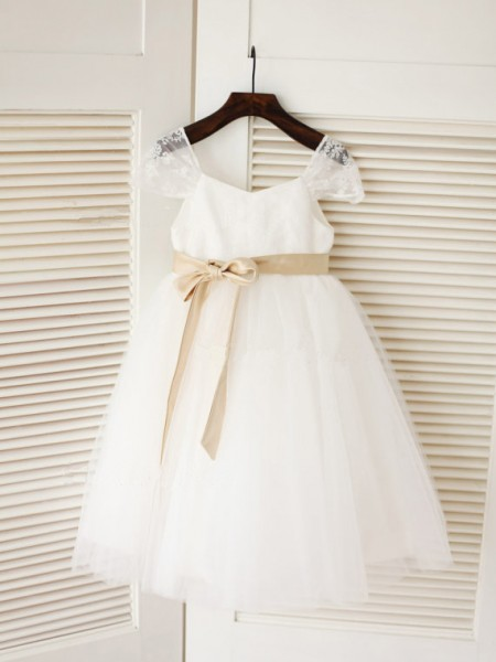 Ball Gown White Tulle Floor-Length Flower Girl Dresses with Sash/Ribbon/Belt