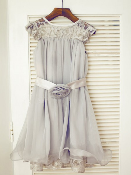 A-Line/Princess Silver Chiffon Floor-Length Flower Girl Dresses with Lace