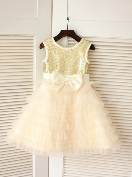 A-Line/Princess Pink Tulle Floor-Length Flower Girl Dresses with Bowknot