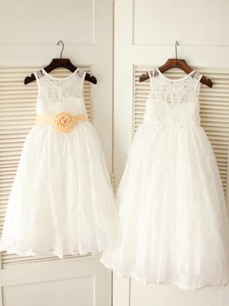 A-Line/Princess White Lace Floor-Length Flower Girl Dresses with Sash/Ribbon/Belt