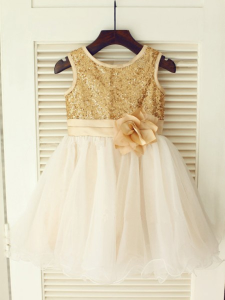 A-Line/Princess Gold Organza Floor-Length Flower Girl Dresses with Sequin