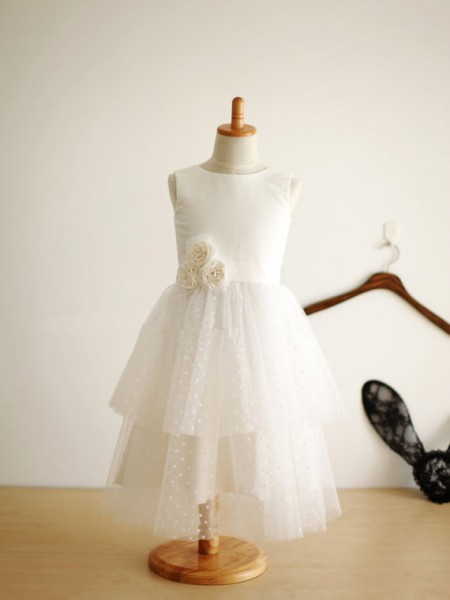 A-Line/Princess White Tulle Floor-Length Flower Girl Dresses with Hand-Made Flower